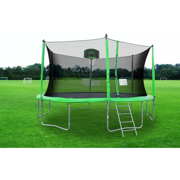 14 Round Trampoline With Safety Enclosure By Merax.