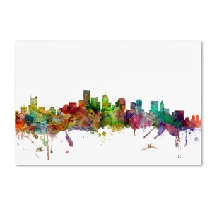 Boston Massachusetts Skyline by Michael Tompsett Graphic Art on Wrapped Canvas by Trademark Fine Art