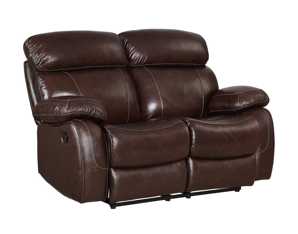 Great Price Shum Leather Power Reclining Loveseat By Red
