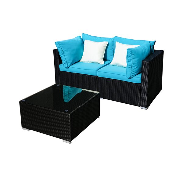 Deusenburg 3 Piece Rattan Seating Group with Cushions by Red Barrel Studio