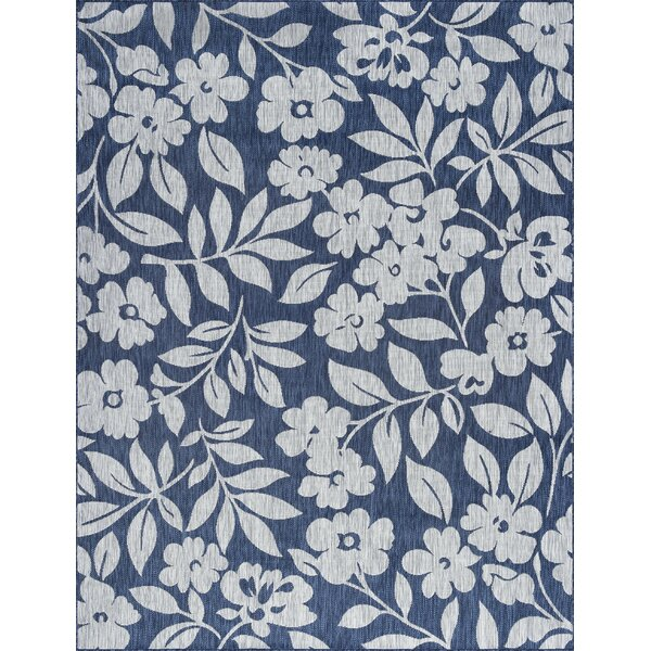 Kadin Contemporary Floral Navy Indoor/Outdoor Area Rug by Red Barrel Studio