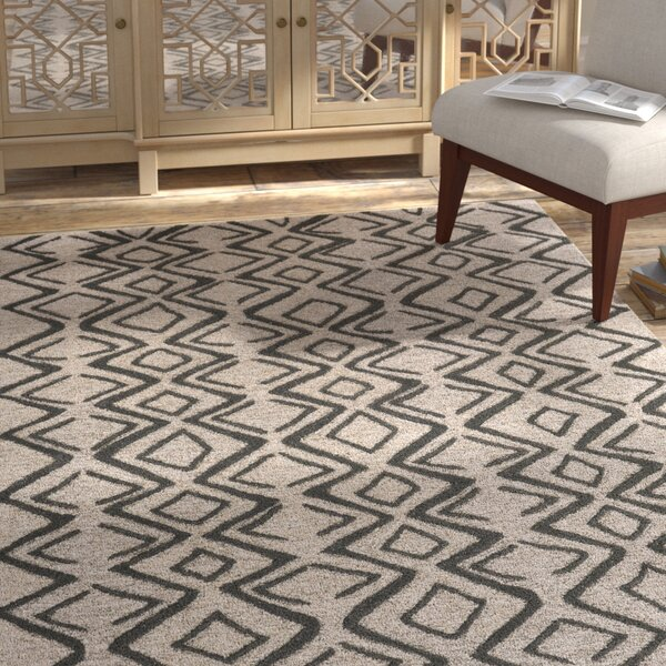 Grider Hand-Tufted Wool Charcoal/Taupe Area Rug by Bungalow Rose
