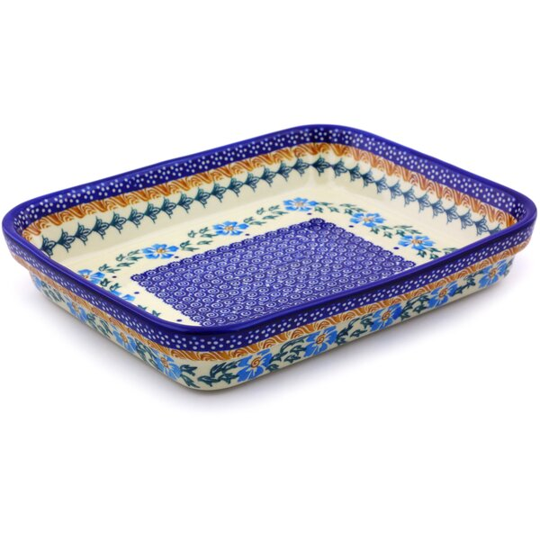 Rectangular Cornflower Polish Pottery Baking Dish by Polmedia