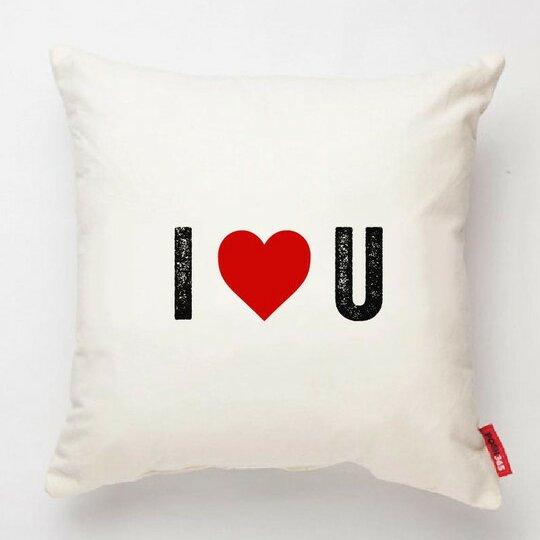 Expressive I Heart U Decorative Cotton Throw Pillow by Posh365
