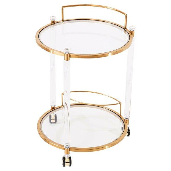 Elrod Round Gold Bar Cart by Mercer41 Mercer41