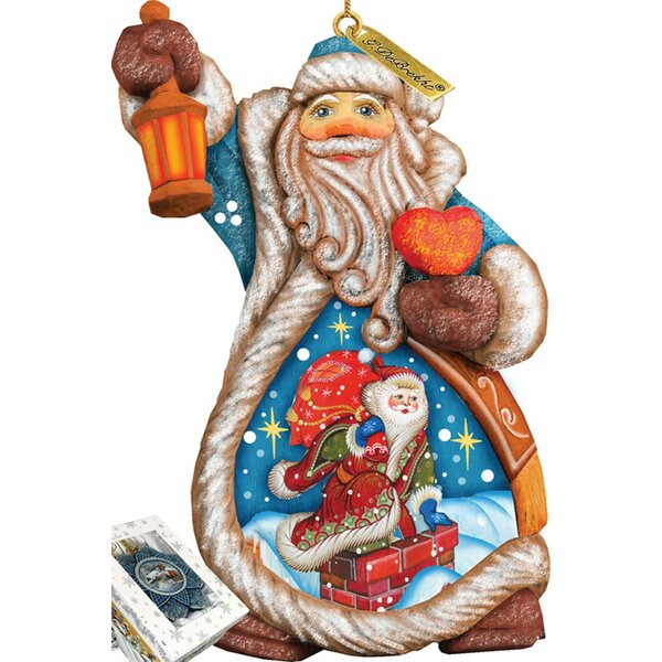 Fifield Santa Naughty Or Nice Ornament Figurine with Scenic Painting by The Holiday Aisle