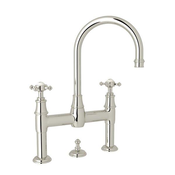 Perrin & Rowe® Georgian Era™ Deck Mount Lavatory Bridge Faucet with Cross Handles in Polished Nickel