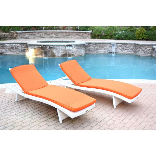 Valery Chaise Lounge with Cushion Pack of 2 by Highland Dunes