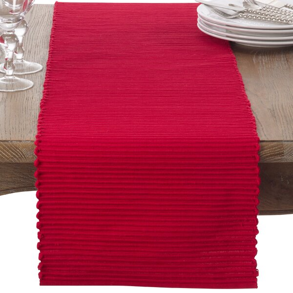 Classic Everyday Ribbed Cotton Table Runner by Saro