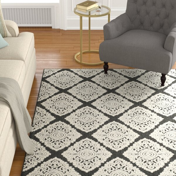 Mannox Black/Cream Indoor/Outdoor Area Rug by Alcott Hill
