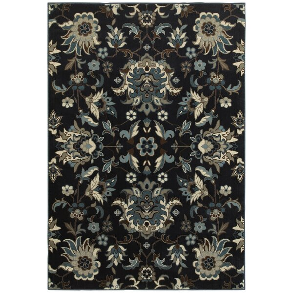 Boykins Flowers Navy/Blue Area Rug by Three Posts