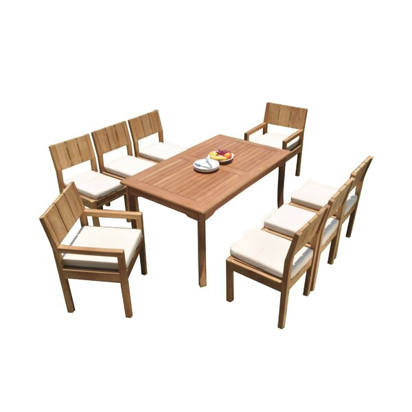 Gennessee 9 Piece Teak Dining Set by Rosecliff Heights