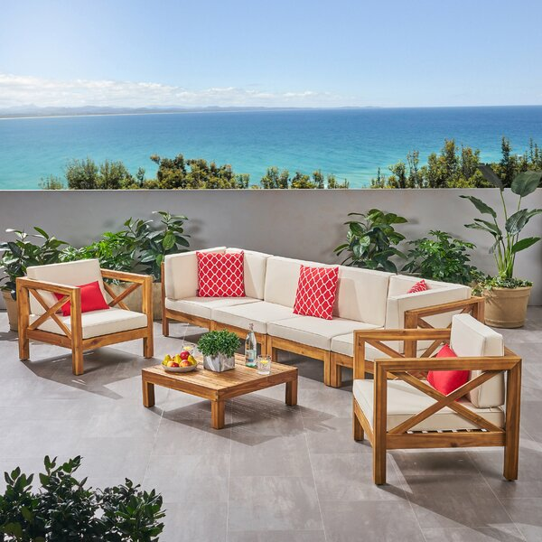 Mallie 7 Piece Teak Sofa Seating Group with Cushions by Foundry Select