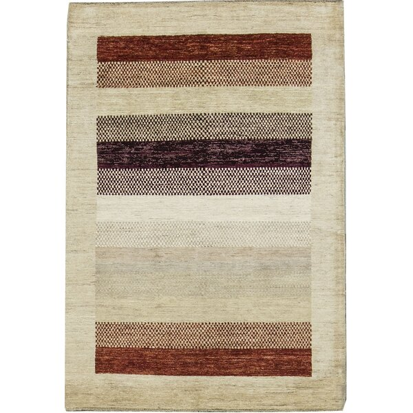 One-of-a-Kind Gabbeh Stripes Hand-Knotted Wool Cream/Brown Area Rug by Bokara Rug Co., Inc.