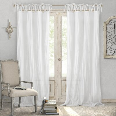 """Hippolyte Solid Semi-Sheer Tab Top Single Curtain Panel Size per Panel: 52"""" W x 84"""" L, Curtain Color: White"""