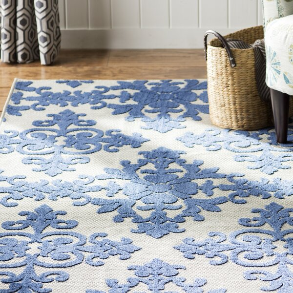 Clarence Cream/Royal Indoor/Outdoor Area Rug by Three Posts