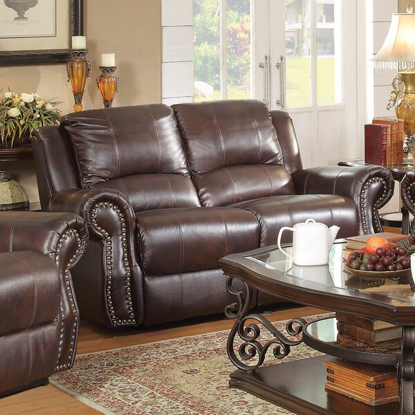 Clearance Leather Motion Reclining Loveseat by Wildon Home by Wildon Home�