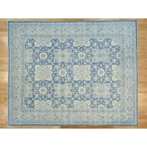 One-of-a-Kind Blackwelder Stone Wash Hand-Knotted Blue Wool Area Rug by Isabelline