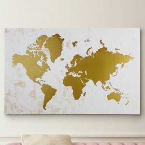 Champaign Gold Map Graphic Art on Wrapped Canvas by Wexford Home
