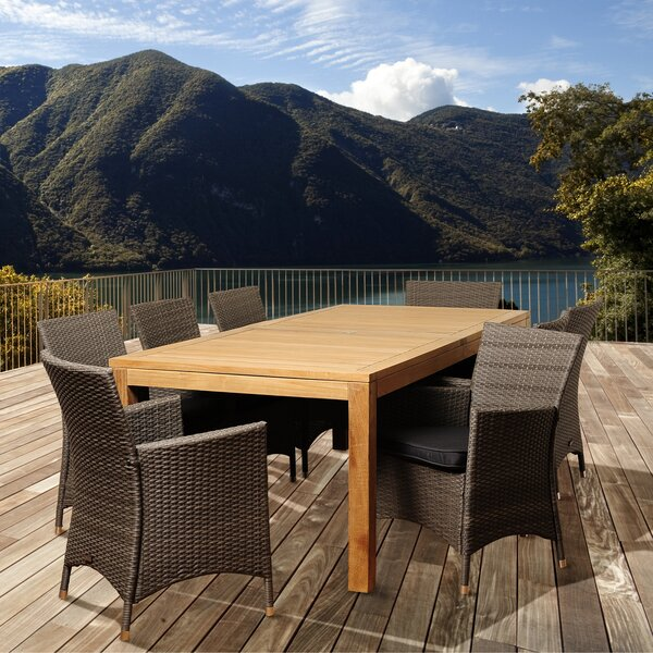 Olivari 9 Piece Teak Dining Set with Cushion by Latitude Run
