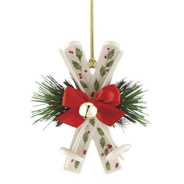Holiday Skis Hanging Figurine Ornament by Lenox
