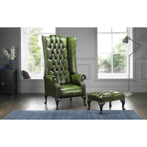 Colucci High Back Wing Chesterfield Chair and Footstool
