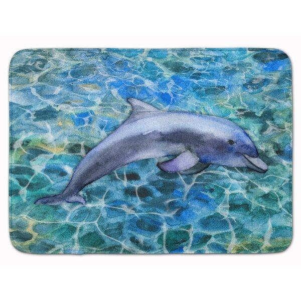 Dolphin Rectangle Microfiber Non-Slip Bath Rug