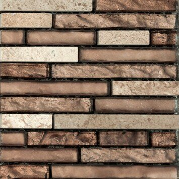 Lucente 12 x 13 Glass Stone Blend Linear Mosaic Tile in Sight by Emser Tile