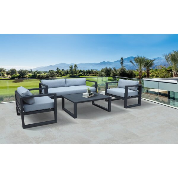 Weber 4 Piece Sofa Seating Group with Cushions by Latitude Run Latitude Run