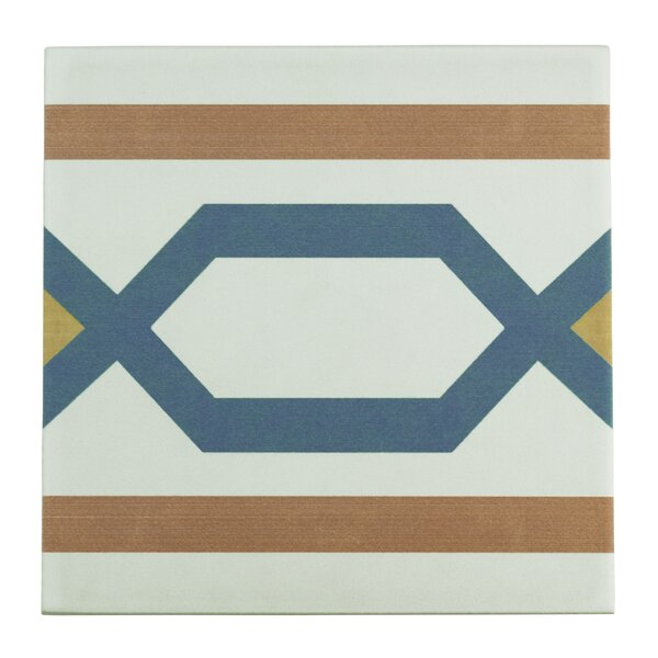 Revive 7.75 x 7.75 Ceramic Field Tile in Orange/Blue by EliteTile