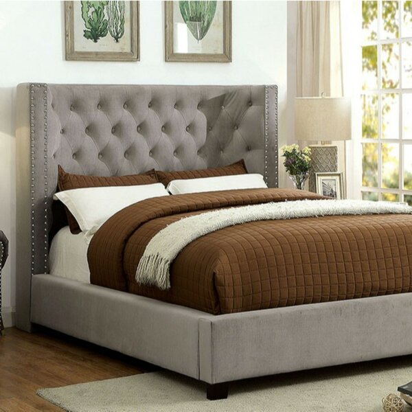 LinoLakes Padded Flannelette Fabric Upholstered Platform Bed by House of Hampton
