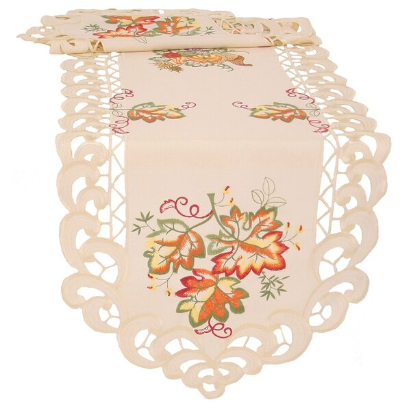 Thankful Leaf Embroidered Cutwork Fall Table Runner by Xia Home Fashions