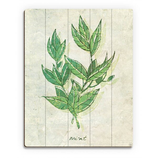 Wood Slats Herb Mint Painting Print on Plaque by Click Wall Art
