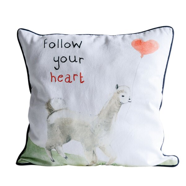 Park Row Follow Your Heart Cotton Throw Pillow by Harriet Bee