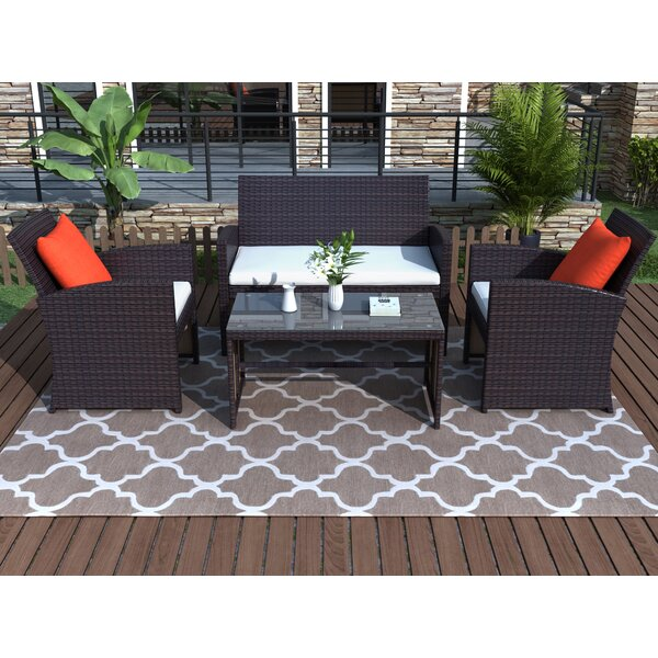 Alhuzaifi 4 Piece Rattan Complete Patio Set With Cushions By Latitude Run by Latitude Run 2020 Online