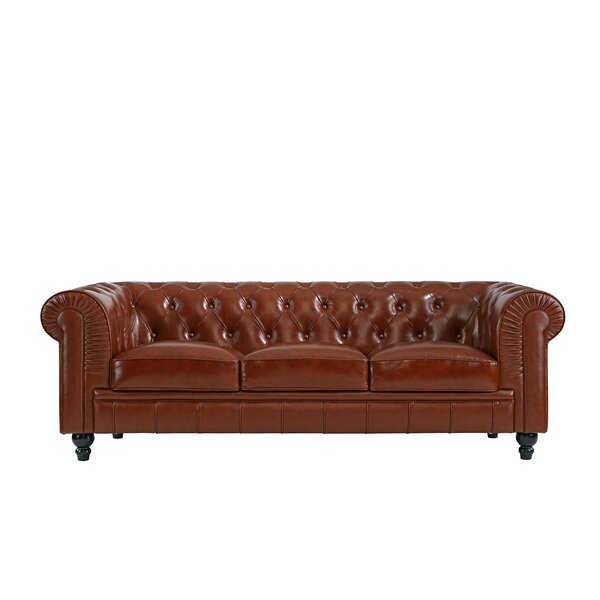 Pompa Traditional Chesterfield Leather Sofa by Charlton Home