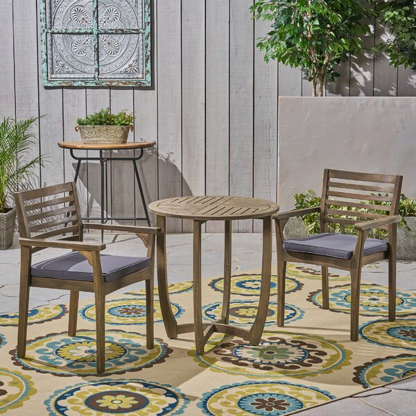 Estrela 3 Piece Bistro Set With Cushions By Bungalow Rose