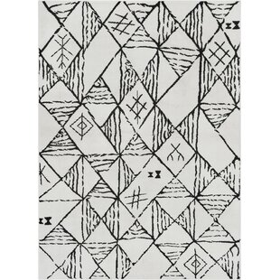 Peebles Magnificent Moroccan Trellis Geometric Mid-Century Soft Black Area Rug By Bloomsbury Market