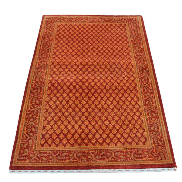 Sarouk Mir Overdyed Hand-Knotted Red Area Rug by Bloomsbury Market