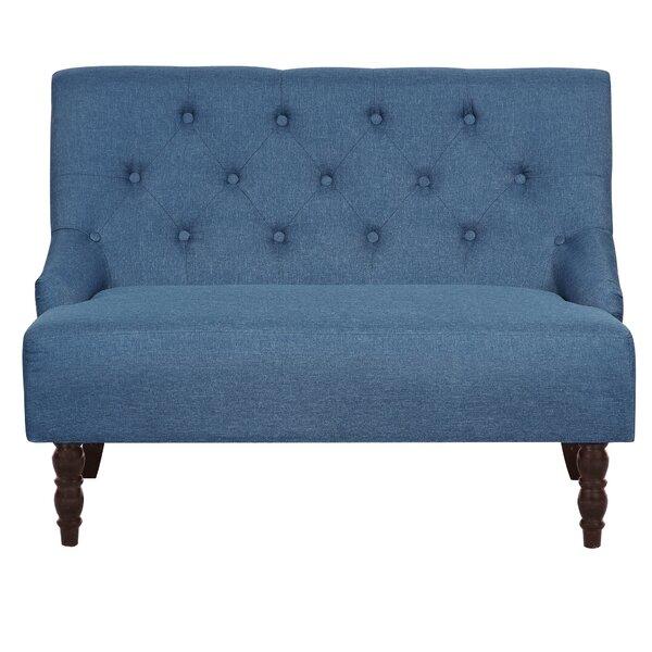 Tufted Linen Upholstered Loveseat by House of Hampton