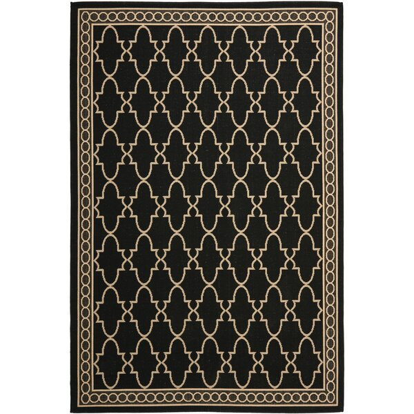 Short Black & Sand Checked Area Rug by Winston Porter