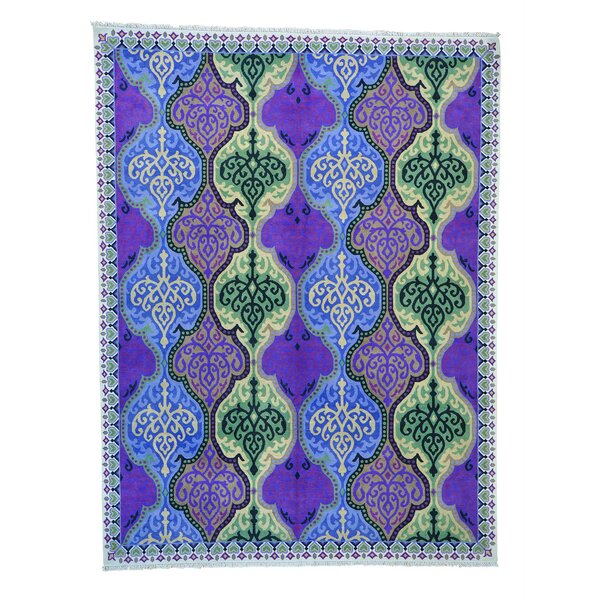 One-of-a-Kind Gerstner Cotton Agra Mughal Oriental Hand-Knotted Cotton Blue/Purple Area Rug by World Menagerie