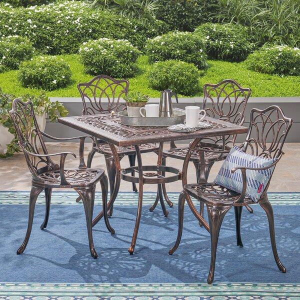 Bryton Outdoor 5 Piece Dining Set by Fleur De Lis Living
