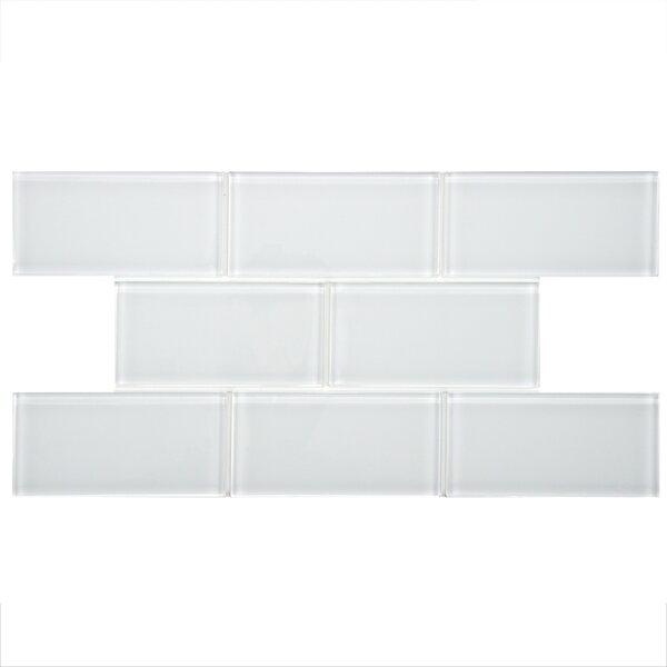 Sierra 3 x 6 Glass Subway Tile in White by EliteTile