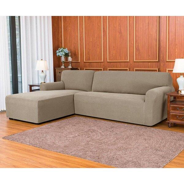 L-Shaped Jacquard Spandex Stretch Box Cushion Sofa Slipcover By Ebern Designs