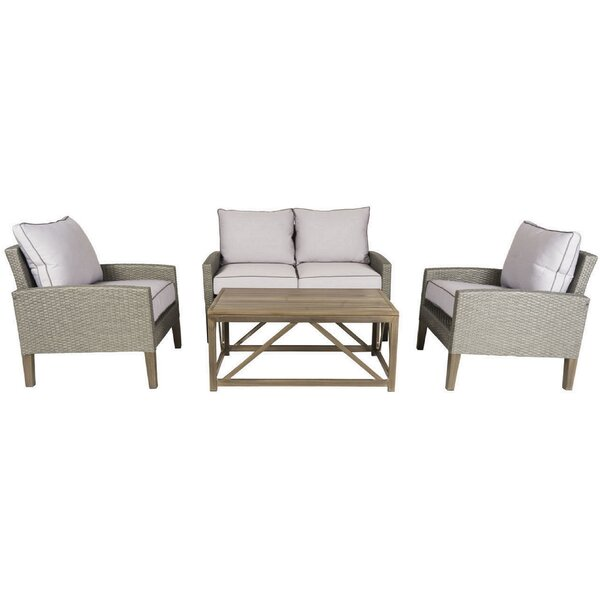Clinton 4 Piece Sofa Set with Cushions by Gracie Oaks