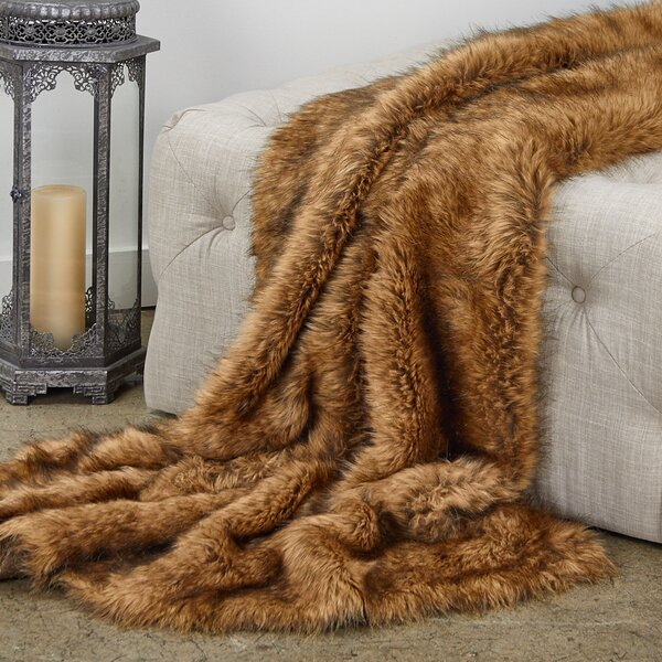 Reese Tip Dyed Fox Luxury Faux Fur Throw by Everly Quinn