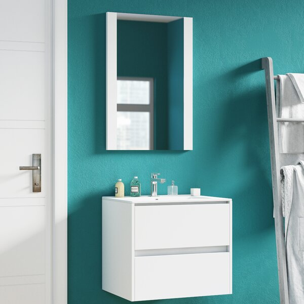 Oquendo 24 Wall-Mounted Single Bathroom Vanity Set with Mirror by Orren EllisOquendo 24 Wall-Mounted Single Bathroom Vanity Set with Mirror by Orren Ellis