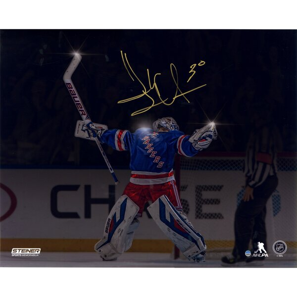 Henrik Lundqvist Signed MSG Celebration Horizontal Metallic Graphic Art by Steiner Sports