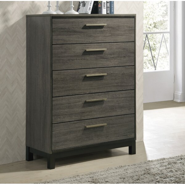 Mandy Wood 5 Drawer Chest by Gracie Oaks